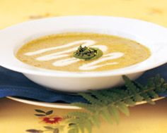 Fiddlehead Soup with Chive Cream Drizzle