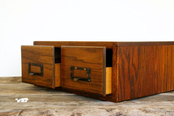 Library Card Catalog // 2 Drawer Tiger Oak by Larch Trading Company