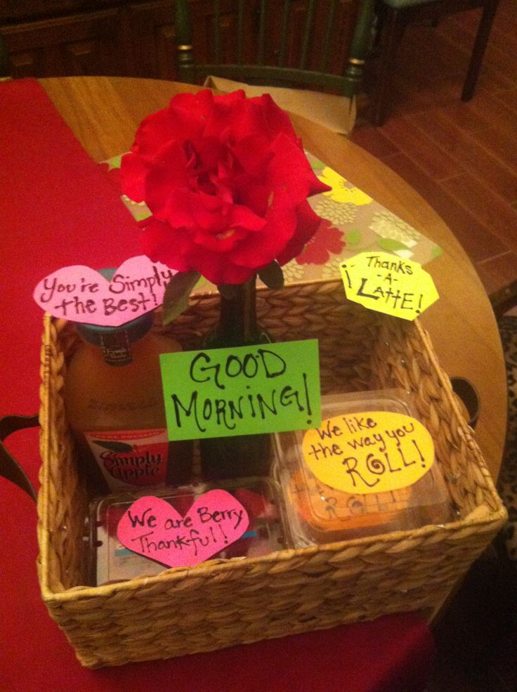 """Thank you Gift ❤ A Good Morning Gift Basket :) -Recycled wine bottle with a cute flower from your garden and a note saying """"Good Morning"""" -A basket of strawberries with a note saying """"We are Berry thankful"""" -A couple of cinnamon rolls """"We like the way you roll"""" -Simply Apple Juice """"Your simply the best"""" -Latte's """"Thanks a latte""""   So cute!"""