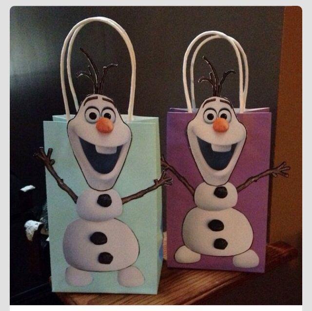 Olaf treat bags Frozen Birthday party ideas