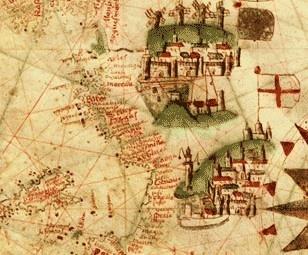 Esta carta náutica portulánea, de origen catalán, ilustra las áreas costeras del mar Mediterráneo con una riqueza de detalle, con topónimos de las áreas habitadas que se muestran sin relación con las divisiones políticas territoriales.