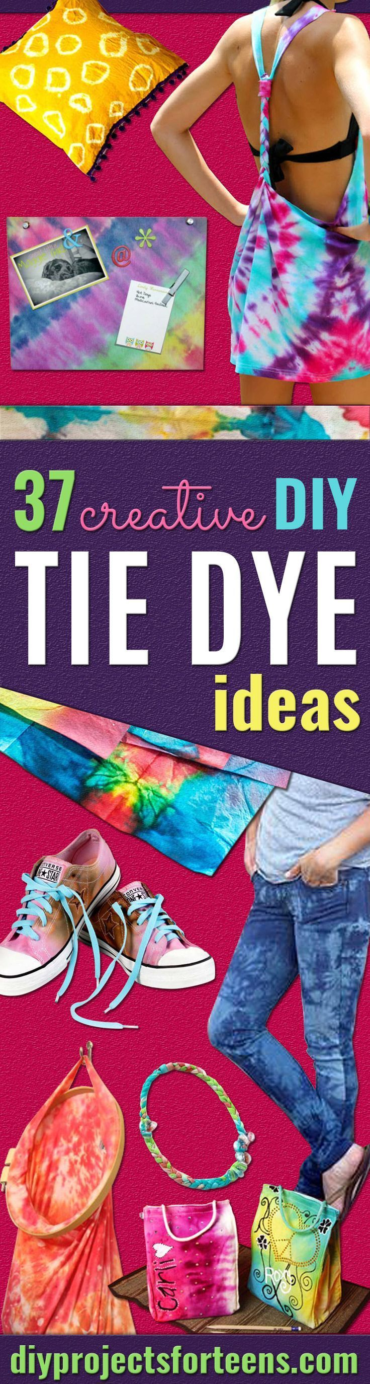 DIY Tie Dye Projects and Crafts -  Cool Tie Dye Ideas for Shirts, Socks, Paint, Sheets, Sharpie, Food and Recipes, Bags, Tshirt and Shoes - Fun Projects and Gifts for Adults, Teens and Teenagers http://diyprojectsforteens.com/diy-tie-dye-ideas