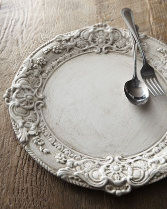 Whitewashed Wood Charger Plate - Horchow