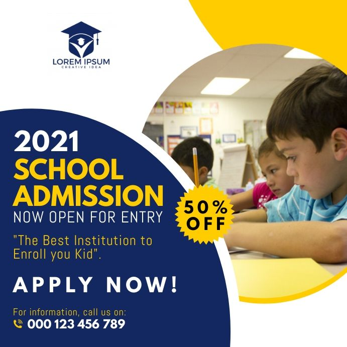 School Admission Social Media Post Template In 2021 School Admissions School Posters Admissions Poster