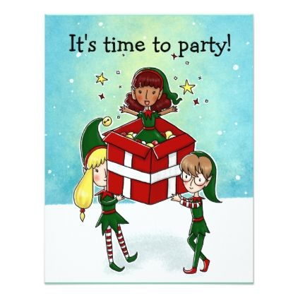 3 Christmas elf Christmas Party invitation - Xmascards ChristmasEve Christmas Eve Christmas merry xmas family holy kids gifts holidays Santa cards