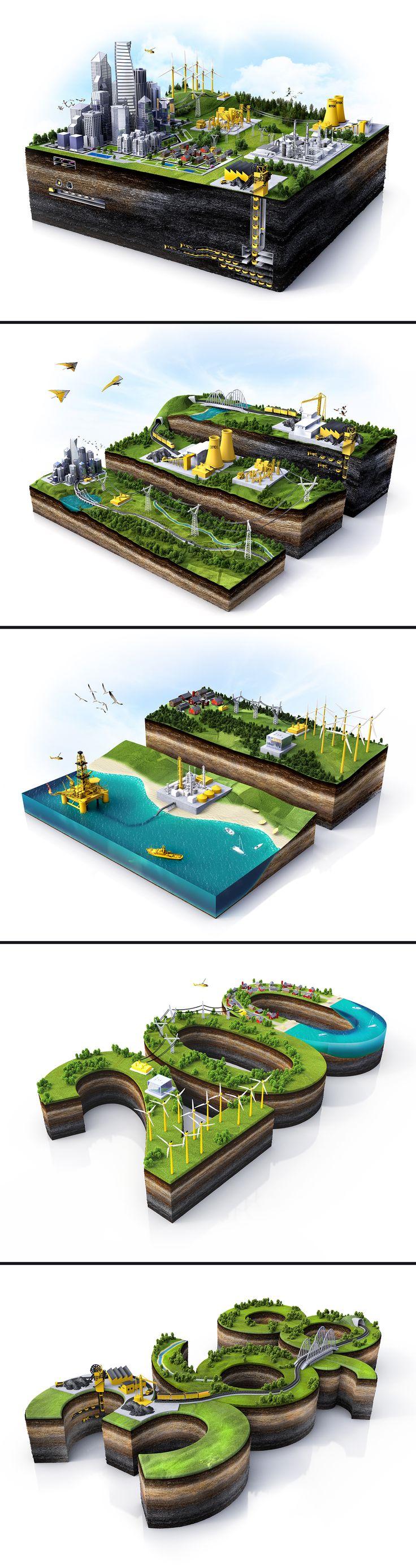 Иллюстрации для годового отчёта и буклета компании DTEC, 3D-графика © Сергей Неженцев