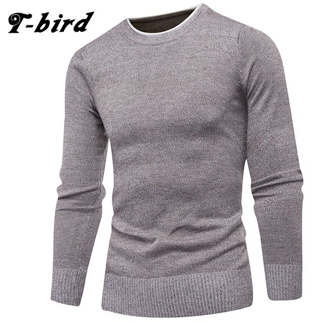 Today Offer $12.20, Buy T-Bird Brand Clothing Men 2017 Fashion Sweater Simple Solid Color O-Neck Slim Fit Casual Pullover Men Sweaters Knitting Mens 3XL