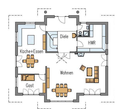 Grundriss erdgeschoss stadtvilla individuell von arge for Zweifamilienhaus plan