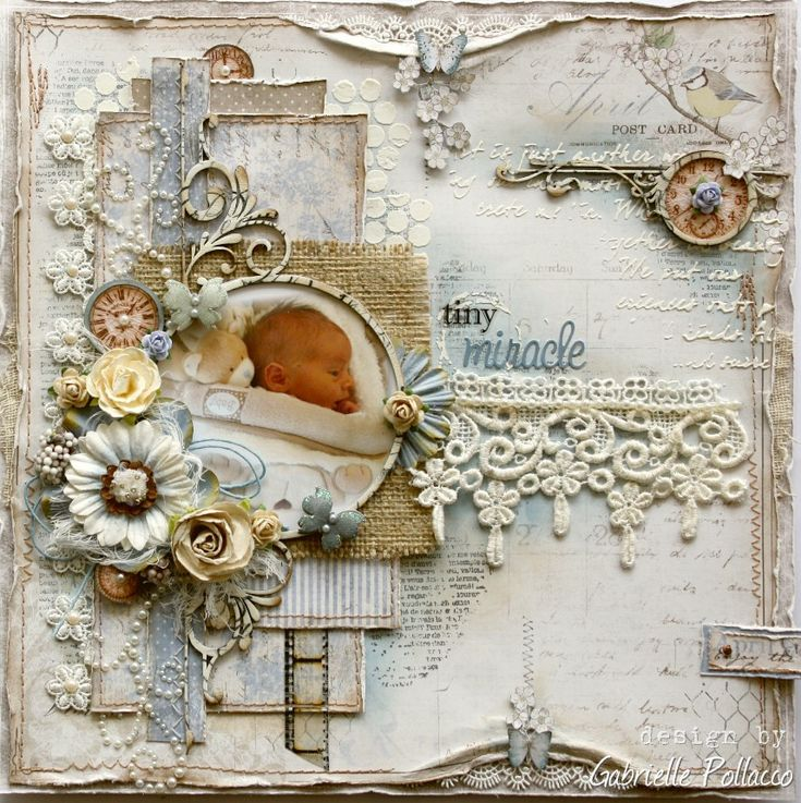 Tiny Miracle ** Maja Design, Vintage Spring Basics collection papers as well as a little bit of Vintage Autumn Basics http://gabriellepollacco.blogspot.ca/2014/04/scrapping-sweet-babies-maja-design.html