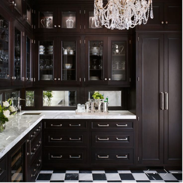 This Could P As A Kitchen However It S Pantry Butler With Espresso Stained Gl Front Cabinets Marble Countertops Mirrored