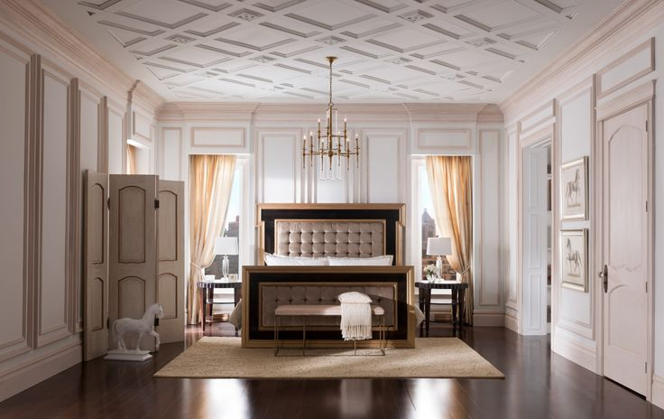 The Metrie French Curves Finishing Collection exudes elegance and glamour. #bedroom #interiorfinishings #doors #moulding #trim #trimwork