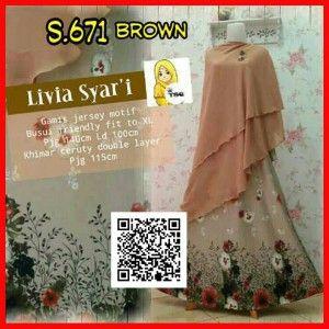 baju gamis muslim syari set bergo s671 brown