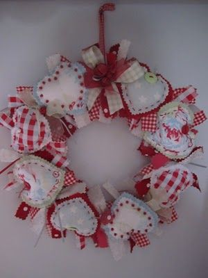 Fabric heart wreath