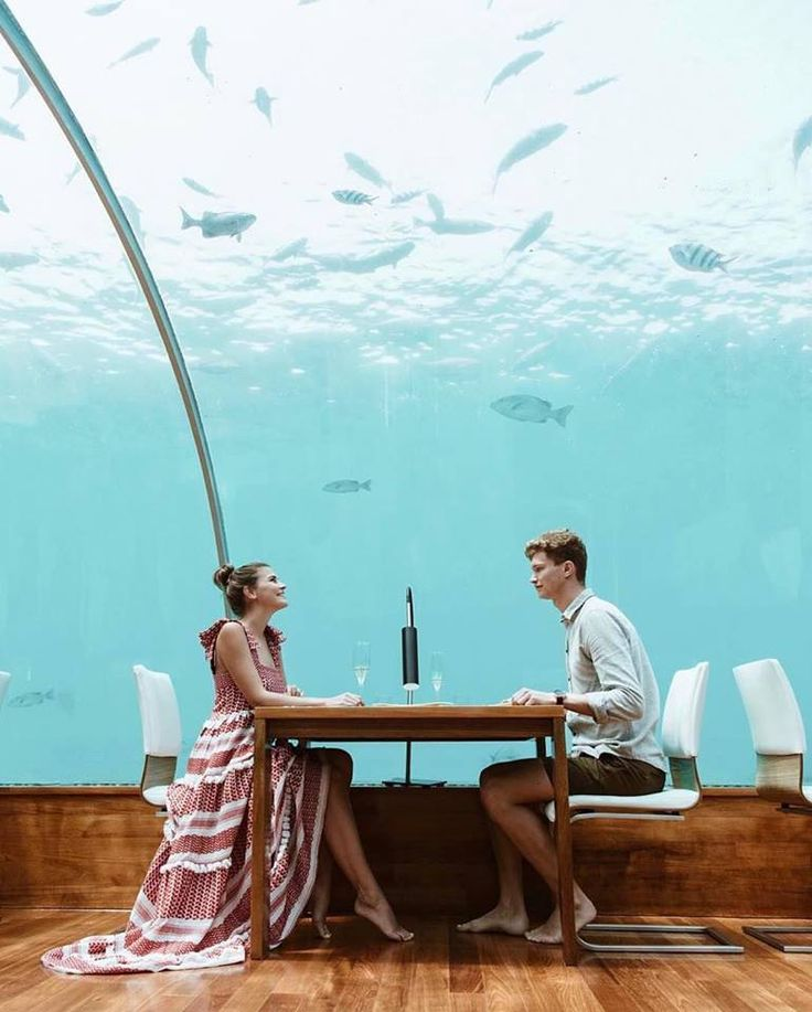 Besides having the run of your own island we have two words for you: underwater restaurant at The Conrad, Maldives. Jot this tropical place down to your bucket list and make it a dream come true. | Photo Credit: @patkahlo