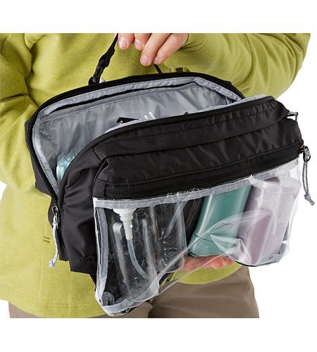 Index Large Toiletries Bag Large, five compartment travel bag for toiletries. A removable pouch with clear panel separates liquids from other items speeds passage through airport security.