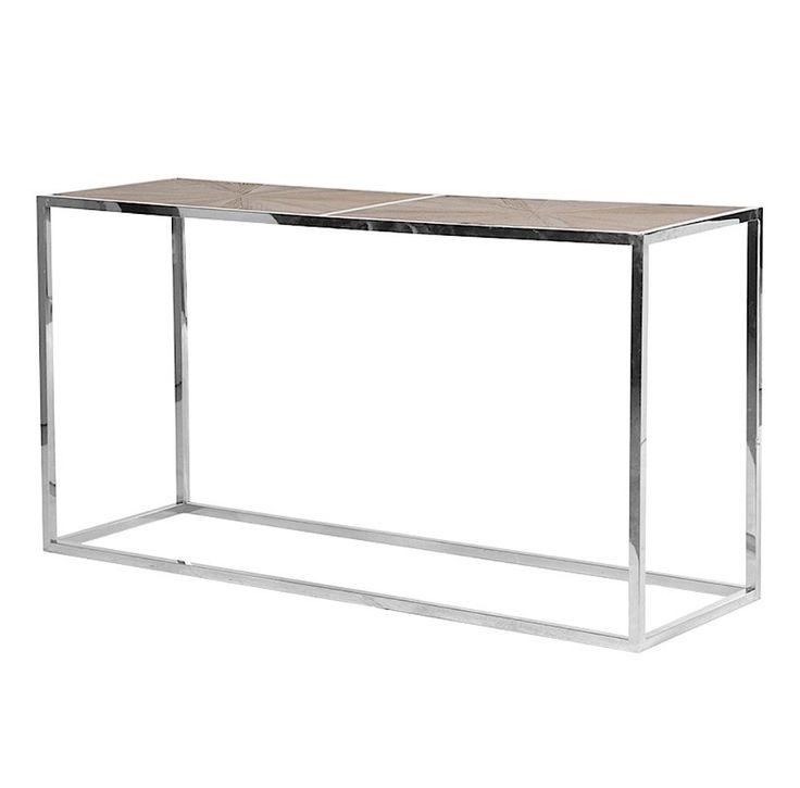 Hennessey Chrome and Parquet Wood Console