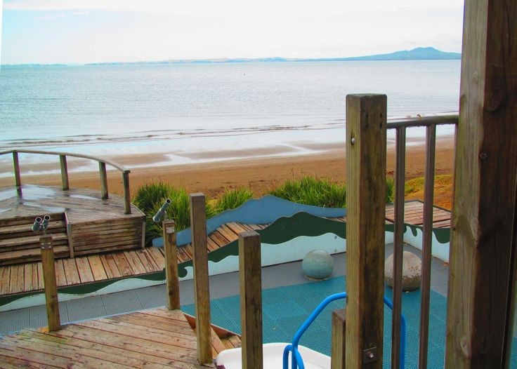 The super fun playground in the Browns Bay beach. New Zealand