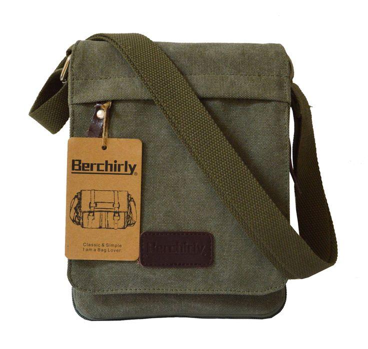 Outdoor Sports Canvas Shoulder Bag, Berchirly Vintage Men Canvas Leather Messenger Cross-body Shoulder bags Organizer Pack