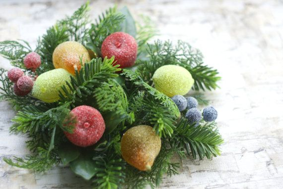 Vintage Christmas Candle Ring Wreath Sugared by DaydreamingKat