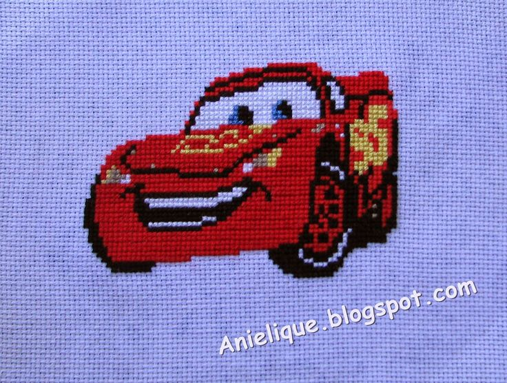 Zygazak McQueen, cross stitch