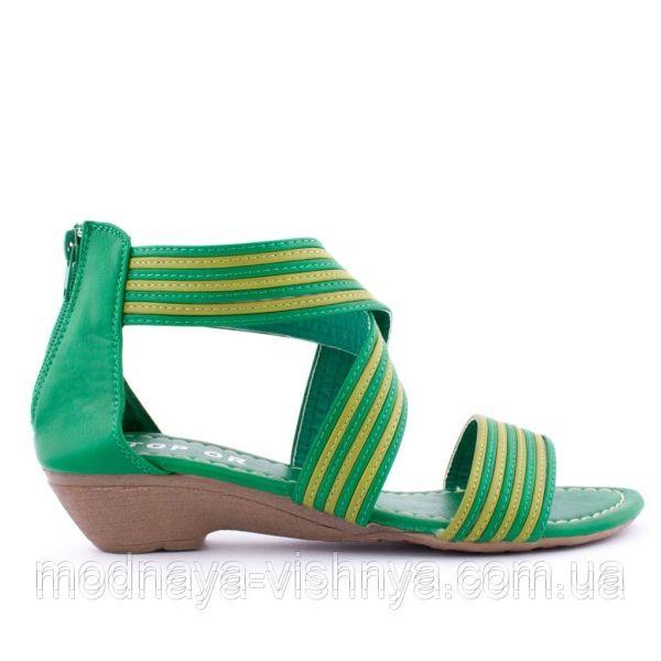 Обувь Женские зеленые сандалии с закрытой пяткой