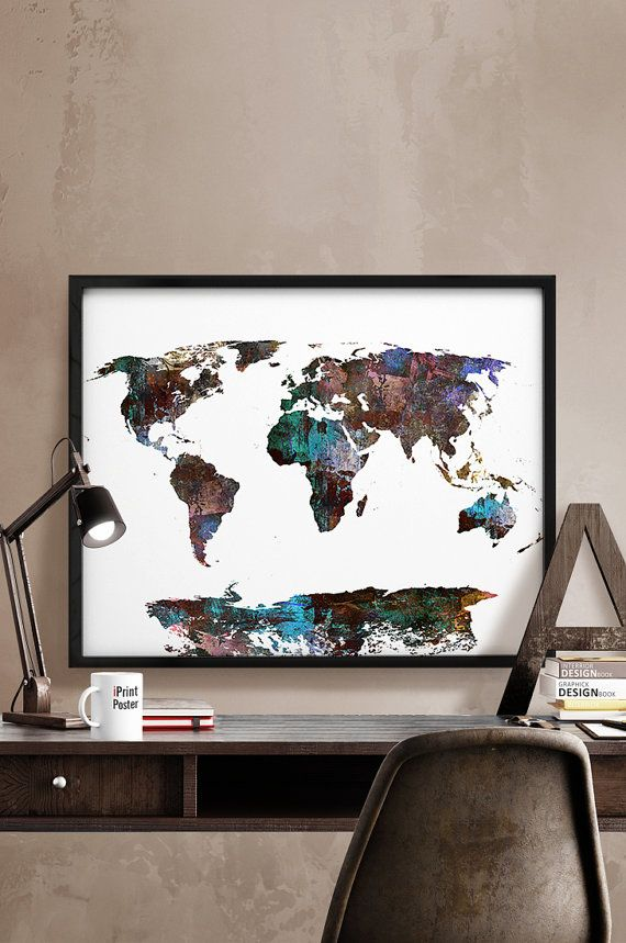 World map poster large world map print abstract by iPrintPoster
