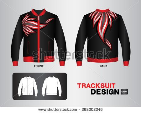 black and red tracksuit design vector illustration Leather Jacket sport t-shirt uniform design clothes vector design fashion design fire vector