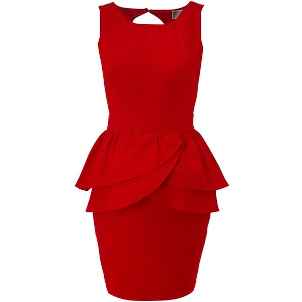 What a retro-red little number! Add a flirty, curvaceous curve dimension and accents a narrow waist. Love it! A holiday must-have. (Lipsy Peplum dress found on Polyvore).