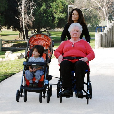 We often get asked if we make a double stroller or wheelchair, and while we do not, we do offer the Random Tandem, which allows you to connect two strollers/wheelchairs, or a stroller and wheelchair together.