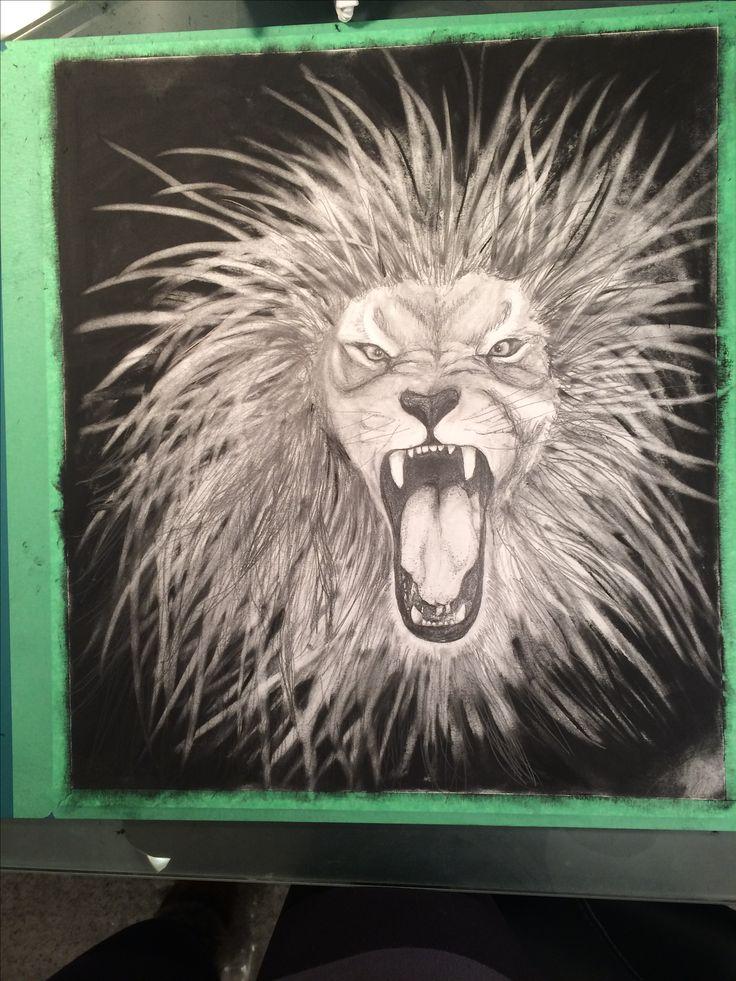 Lion roar. Pencil. Charcoal.