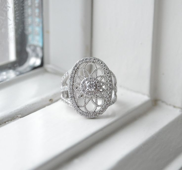 Radiant Art Deco Ring  Lyrical Silver Ring  Micro by barargent, $60.00