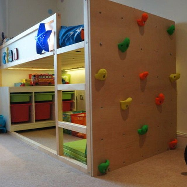 IKEA Kura bed featuring a climbing wall More