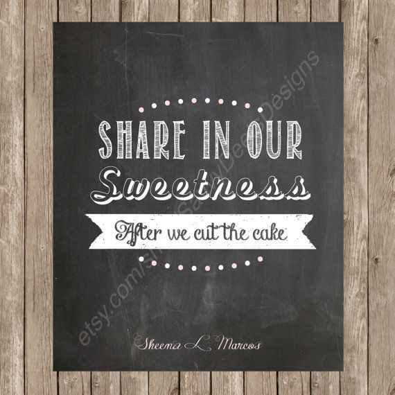 Wedding Dessert Table Sign: Chalkboard Wedding Dessert Table Sign Printable