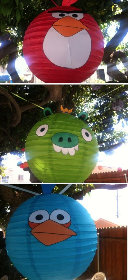 Super cute Angry Bird lanterns!!  Made for cheap chinese lanterns, then print faces from computer and glue on.