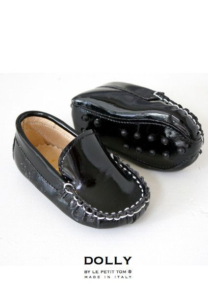 DOLLY by Le Petit Tom ® BABY MOCCASIN 10MO black patent