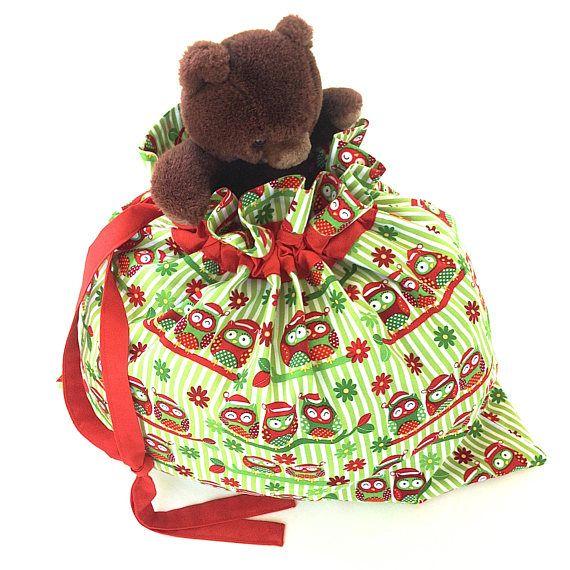 Handmade Owl Santa Sack Christmas Sack Large Drawstring Bag