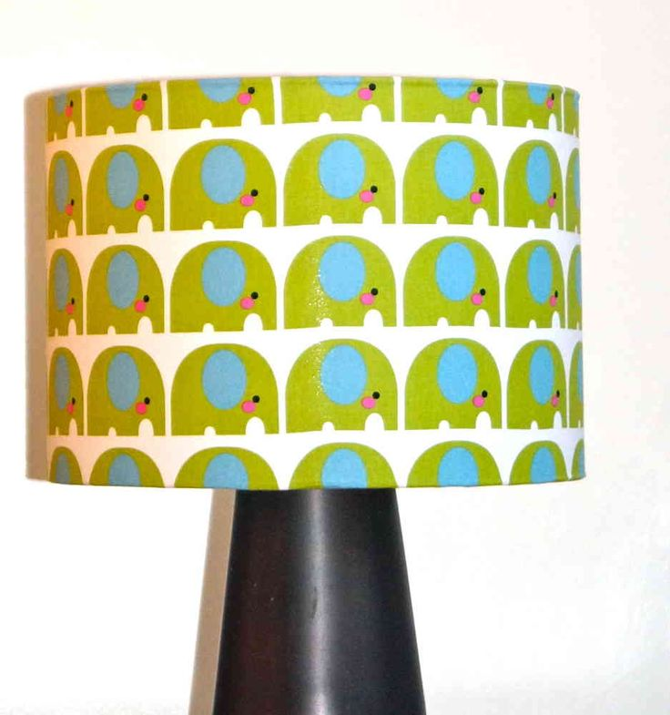 Green Elephant Drum Fabric Lampshade