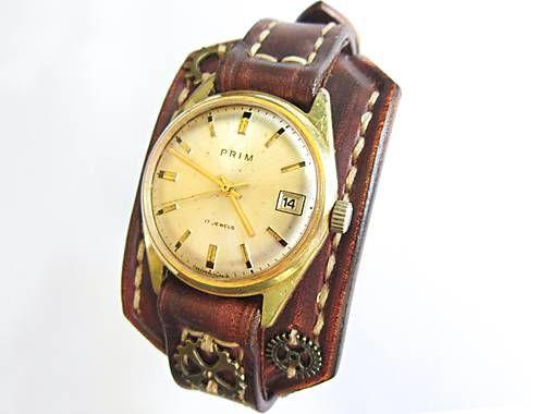 80fdef223 Kožený remienok na starožitné hodinky Prim II / leon | Veci na oblečenie