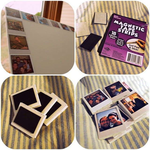 Mini Polaroid Magnets. I wonder if these could be used for save the dates, birth announcements, and stuff like that.