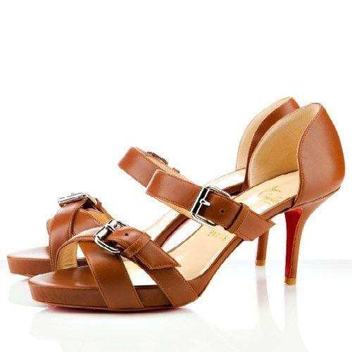 Christian Louboutin Atalanta 80mm Sandals Cognac Leather