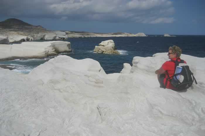 Taking in the scenery at Sarakiniko on Milos
