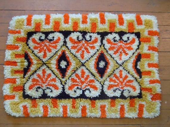 vintage LATCH HOOK RUG by OldSteamerTrunkJunk on Etsy, $35.00