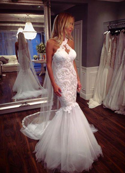 Mermaid Wedding Dresses,Halter Wedding Dresses,White Wedding Dresses,Tulle Wedding Dresses,Keyhole Wedding Dresses, Lace Wedding Dresses,Wedding Dresses 2017