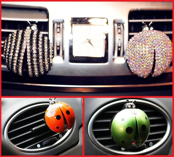 Car Air Conditioning Outlet Perfume Beetle Car Air Freshener  Car Perfume Automotive Interior Rhinestone Ladybug Styling