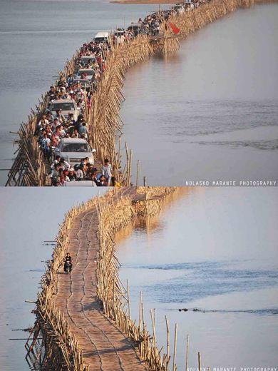 Bamboo Bridge  Located in Kampong Cham, a city in the East part of Cambodia, by Mekong's bank, it's a little bamboo one way bridge which connects the city with an island where there are some villages and several rice fields.