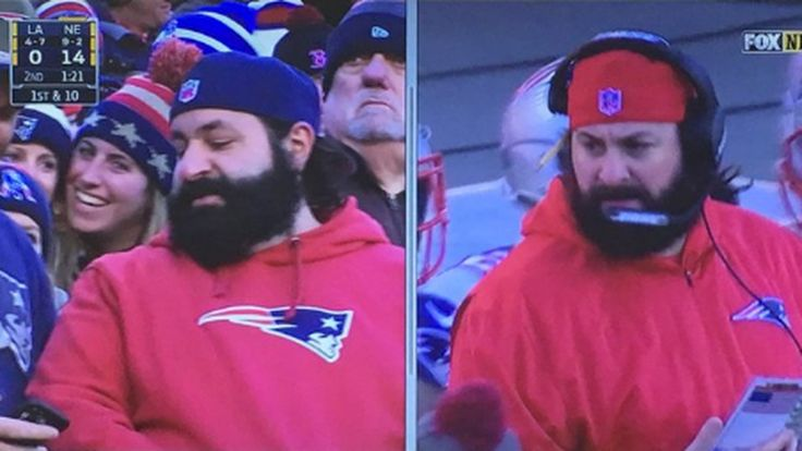 Does Patriots defensive coordinator Matt Patricia have a secret twin in the stands?