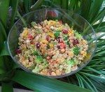 Quinoa, pepper and peanut salad
