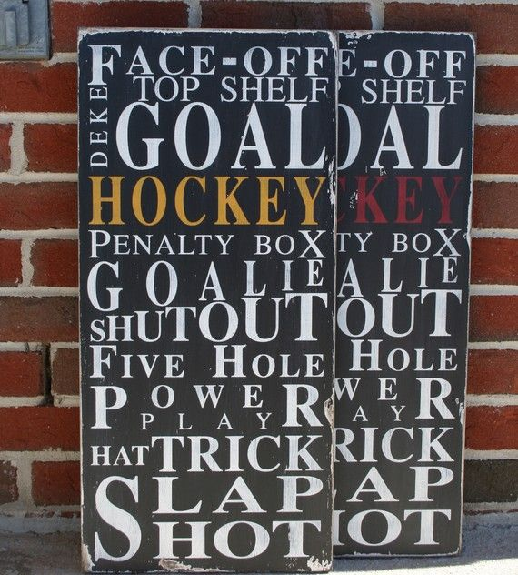 If we have kids and should we have a boy this would be in his room. Ice Hockey  Typography Word Art in Black by barnowlprimitives, $90.00