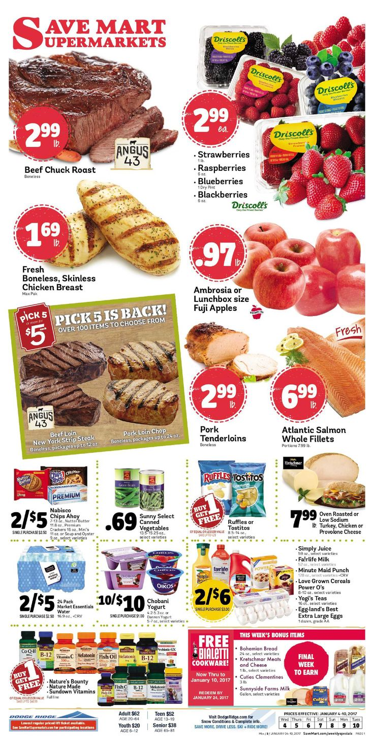 Save Mart Weekly ad January 4 - 10, 2017 - http://www.olcatalog.com/save-mart/save-mart-weekly-ad.html