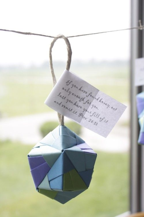 Folded origami candy boxes as favors and decorations   Offbeat Bride